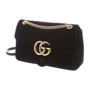 Gucci Marmont Velvet Black Medium Bag